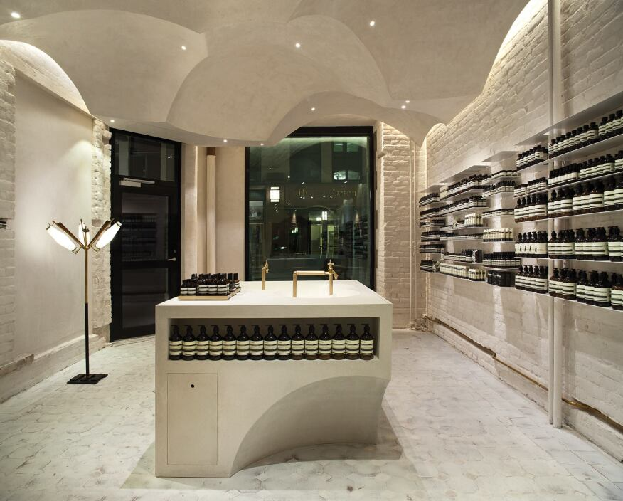 The store interior, with its glass-fiber reinforced gypsum domes and displays