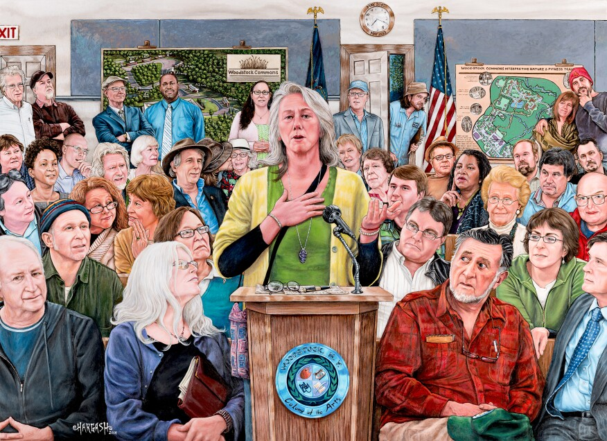 Tamara Cooper and other supporters of Woodstock Commons are captured in a painting by Steve Hargash.