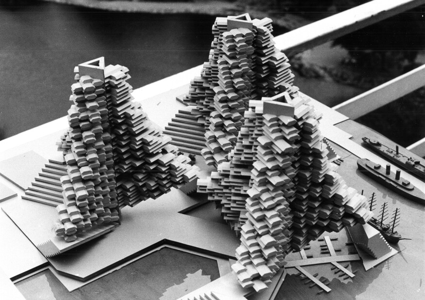 One of the models from Safdie's unbuilt Habitat New York project (1968)