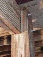 Figure 8. Notching 6x6 columns to receive a doubled 2-by beam provides a spot to positively anchor the beam to the column using bolts.