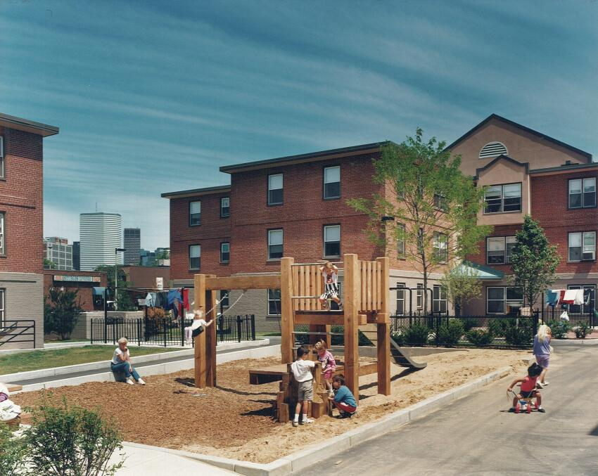 A playground in the renovated West Broadway housing development.