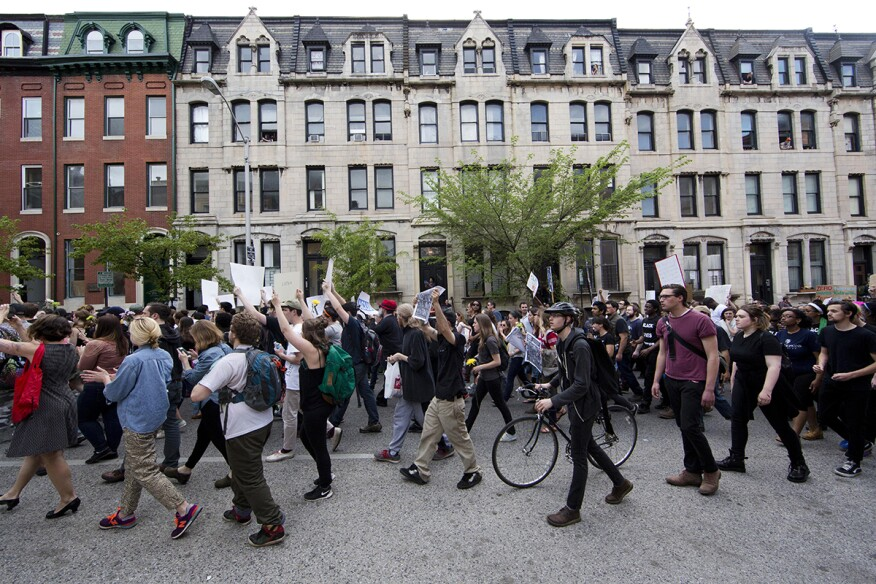 Protestors marching to Baltimore's City Hall on April 29.