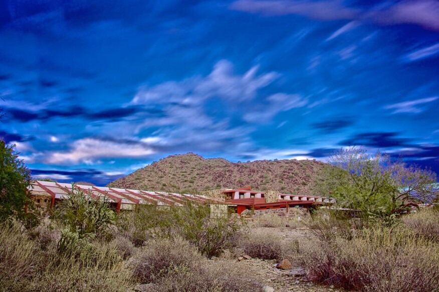 Taliesin West sits in Paradise Valley surrounded by mountains.