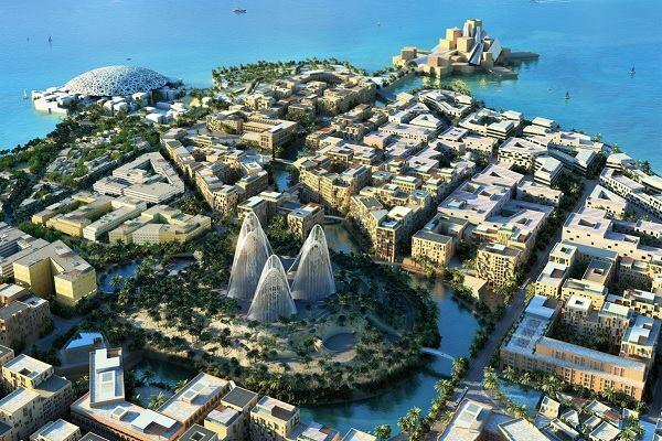 A rendering of Saadiyat Island.