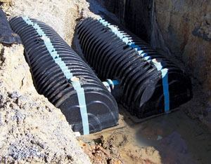 The plastic chambers carry excess runoff to the stormwater outlet. Photo: Cultec Inc.