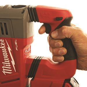 A shock-absorbing handle like this one on a Milwaukee rotary hammer isolates the rear handle from the main body.