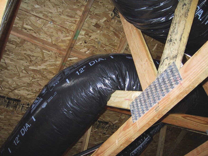 A pinched HVAC duct creates high static pressures that stress equipment and reduce airflow. Photo: Steve Easley