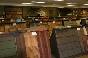 Worth Supply squeezes a large number of roofing and siding displays into a small space.