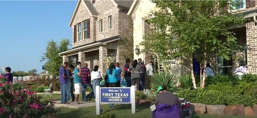 Dallas area new home communities have prospective buyers camping out for opportunity to buy new home lots.