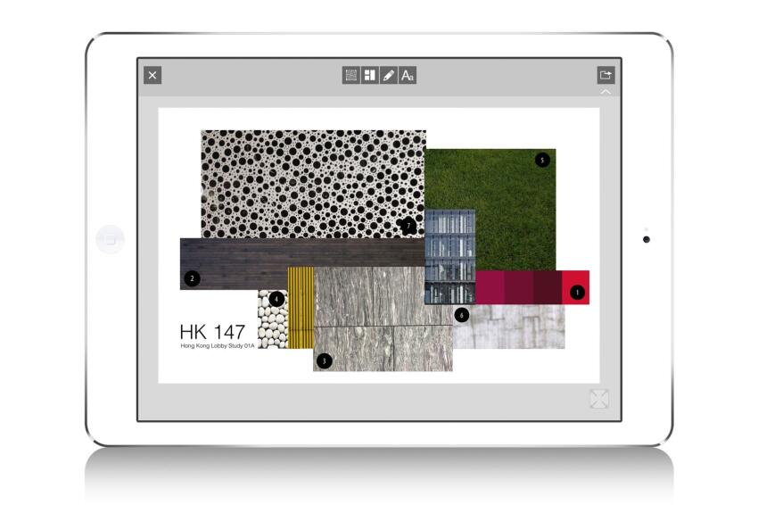 Board users can juxtapose their clipped objects and swatches to create a polished design vision.