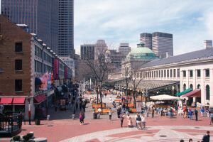 Faneuil Hall and Quincy Marketplace in Boston in early spring.
