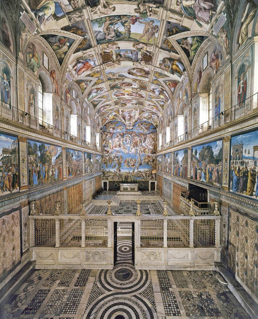A view of the Sistine Chapel. Pope Julius II commissioned Michelangelo to paint the ceiling, and the work took place from 1508 to 1512.