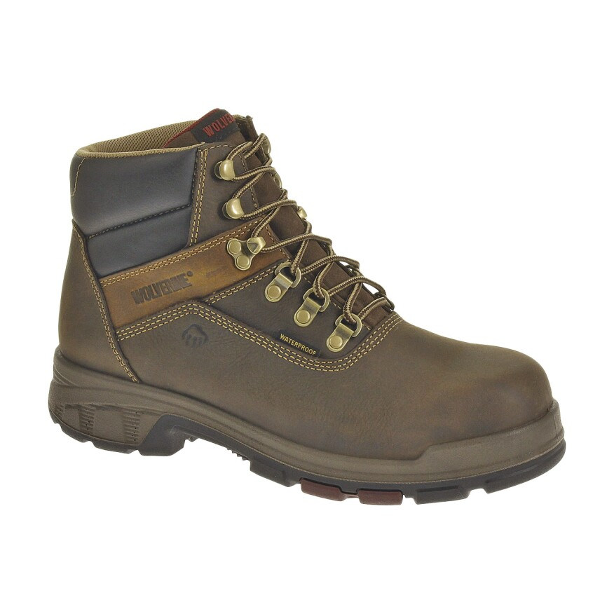 The Wolverine Cabor EPX PC Dry Waterproof 6-Inch Boot features a ½-inch, defined heel and a well-cushioned collar and tongue.