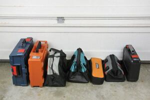 Manufacturers offer a variety of cases. From left: Bosch L-Boxx, Fein case, Fein duffel, Makita duffel, Ridgid bag, Porter-Cable duffel, and Porter-Cable case. Bosch also offers a blow-molded case and a duffel.