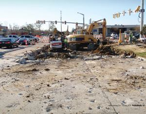 Crews rebuilt an intersection in less than 80 days, which was 70 days ahead of schedule. The reconstruction comprised two thru lanes, two left-turn lanes, and a right-turn lane in all directions with signal upgrades. Photo: Chris Holeman, PE