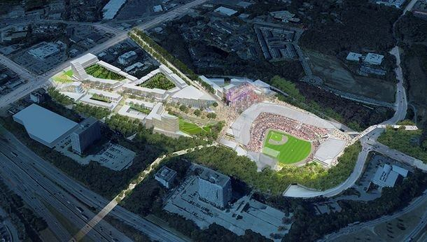 A rendering of the new Atlanta Braves Stadium and adjoining mixed-use development