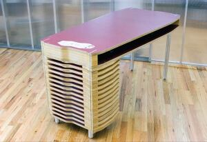4-pli offers furniture pieces, such as the Nesting Desk, that are customizable by size.