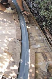 Figure 4. With proper heating equipment, bending composite decking is possible, but demanding.