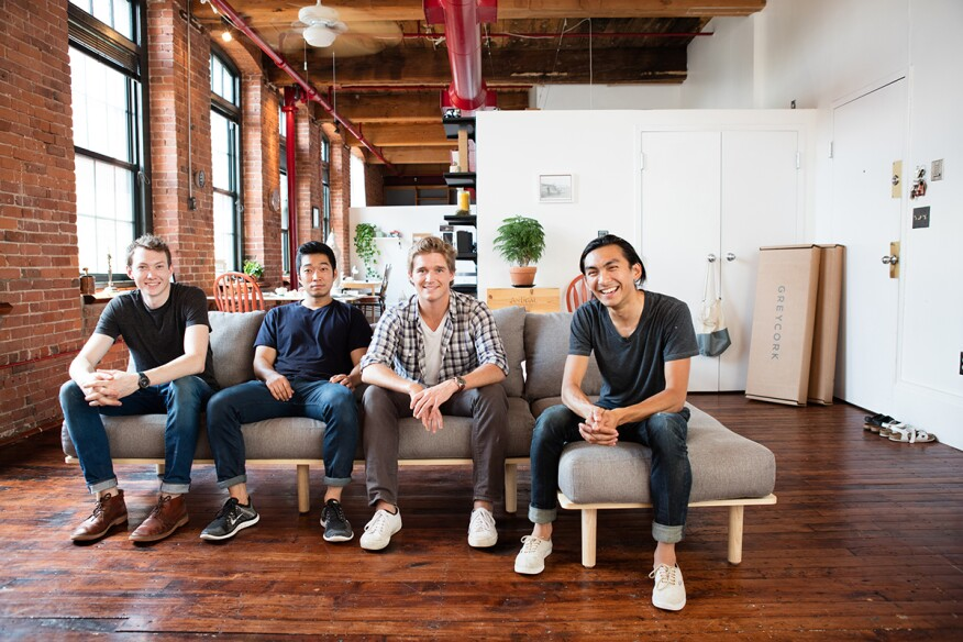 """The Greycork team (from left): industrial designer Jonah Willcox-Healey, co-founder and CPO Myung Chul """"Bruce"""" Kim, co-founder and CEO John Humphrey, and co-founder and CDO Alec Babala."""