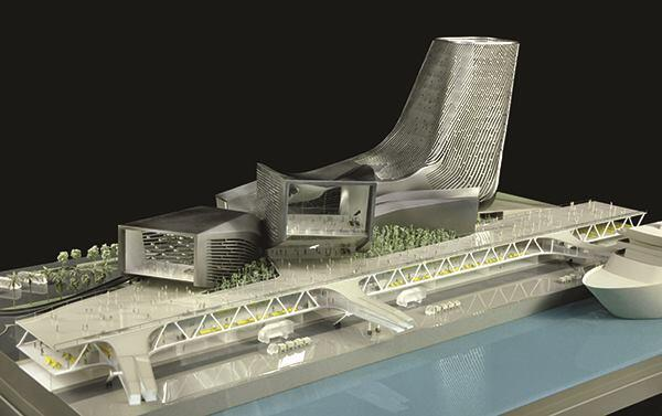 View of the model from the southwest, showing the infrastructure for cruise ship boarding.