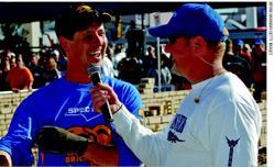 Brian Carney (right), vice president/general manager of SPEC MIX, interviewed  the winner at the conclusion of the competition.