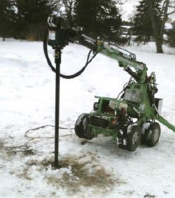Figure 10. Driving a helical pile in frozen ground begins with inserting a proprietary heating rod in a hole drilled with a rotary hammer (above). Once the ground is warmed, the pile is driven normally (right).Photo credit: Dave Northup