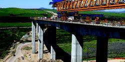 The typical spans between columns of the South Bay Expressway's Otay River Bridge  measure 300 feet, or about the length of a football field. Photo: South  Bay Expressway