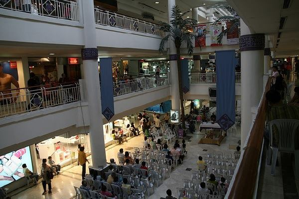 A church service held in a mall