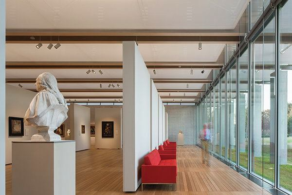 The south gallery in the new Renzo Piano Pavilion at the Kimbell Art Museum.
