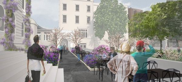Rendering of the Arthur Ross Terrace and Garden.
