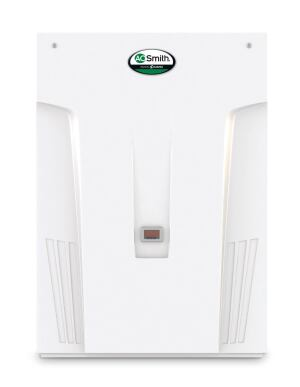 A.O. Smith. The company's new 180,000-BTU condensing tankless water heaters offer continuous flow rates of up to 8 gallons per minute and use highly efficient condensing technology, which allows the units to operate with an Energy Factor of 0.91. The manufacturer says an easy-to-read built-in display shows temperature, diagnostics, and error messages. The Energy Star–rated units are available in natural gas or propane as well as indoor and outdoor configurations. 800.527.1953. www.hotwater.com.