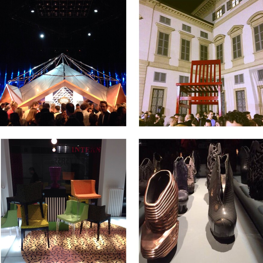 Clockwise from top left: the Wallpaper* party, the Molteni party,United Nude's 3D-printed footwear show, andKartell's Ettore Sottsass Memphis tribute display.
