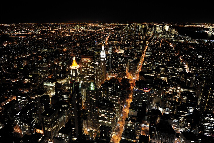A nighttime view of New York City.
