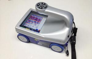 A hand held portable ground-penetrating radar unit.