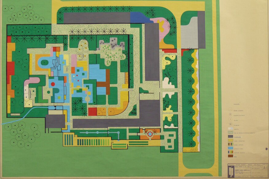 Gouache painting of a design for the garden of the Clemente Gomes residence, Fazenda Vargem Grande, Areias