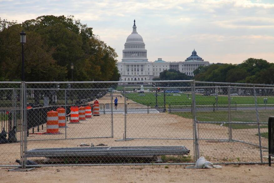 Barricades on the National Mall.