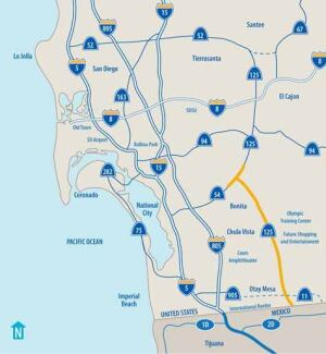 The owners of California's 10-mile South Bay Expressway (in yellow on this map) recently filed for bankruptcy after three years of operation. Fortunately, the state DOT's agreement with Macquarie Infrastructure Group of Australia doesn't require the agency to take over operations. Image: TOLLROADSnews.com