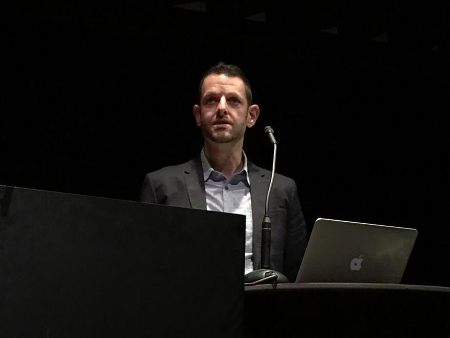 Harvard University researcher Jeff Karp presents at