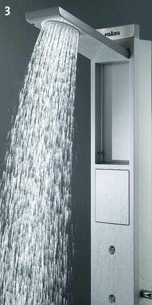 Skyline shower panel  Hansgrohehansgrohe-usa.com  Dual, fold-away showerheads; a cylindrical hand shower; and five body sprays are pre-plumbed into this shower panel - Anodized aluminum panel - Showerheads use Hansgrohe's Raindance technology - Hand shower is an Axor Starck fixture - Foldable footrest in base - Thermostatic temperature control plus two volume controls - Hangs on finished wall