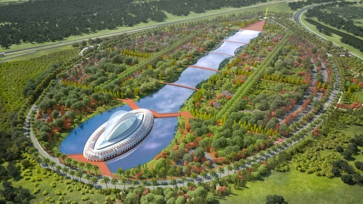 An aerial rendering of the proposed campus for Florida Polytechnic University shows Calatrava's signature structure at the northern end of an axial lake.
