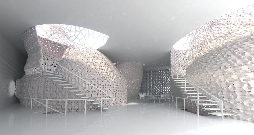 The 3D Printed House 1.0 for Jin Hai Lake Resort in Beijing is a case study in integrating traditional building components and volumes produced with 3D-printed salt polymers and fiber-reinforced cement polymers developed by Emerging Objects.