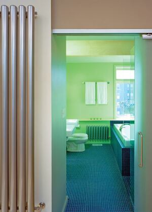 """radiant touch  Bisque radiators """"appear like sculptures on the wall,"""" says Bloomberg, who speced one for this bathroom. """"The clean, industrial design operates successfully within a modern environment, unlike traditional radiators, which look dated."""" Imported from England, the all-steel units have an enamel finish and come in classic and contemporary designs. 3-D Laboratory, 212.791.7070; www.3-dlaboratory.com"""