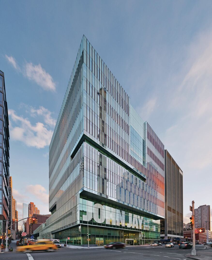 SOM's design for the John Jay College of Criminal Justice's new facility integrates itself with the college's existing structures to create an urban campus that fills out an entire city block between 10th and 11th avenues on Manhattan's west side.