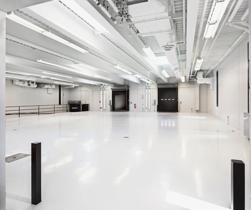 Warehouse area for checking vehicles.