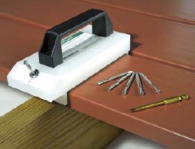 Figure 7. Fiberon's DeckPilot spaces the decking and guides screws into the edge of the board at an angle.