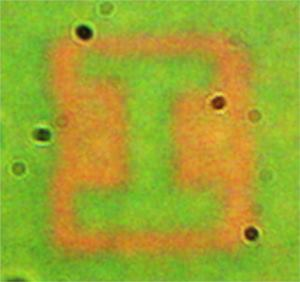 "The researchers recorded UIUC's ""I"" logo using the plasmonic film. Each bar in the letter measures approximately 6 micrometers."