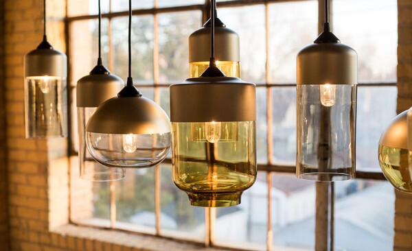 Hennepin Made, Parallel Series, blown glass lighting, blown glass pendant, pendant lighting