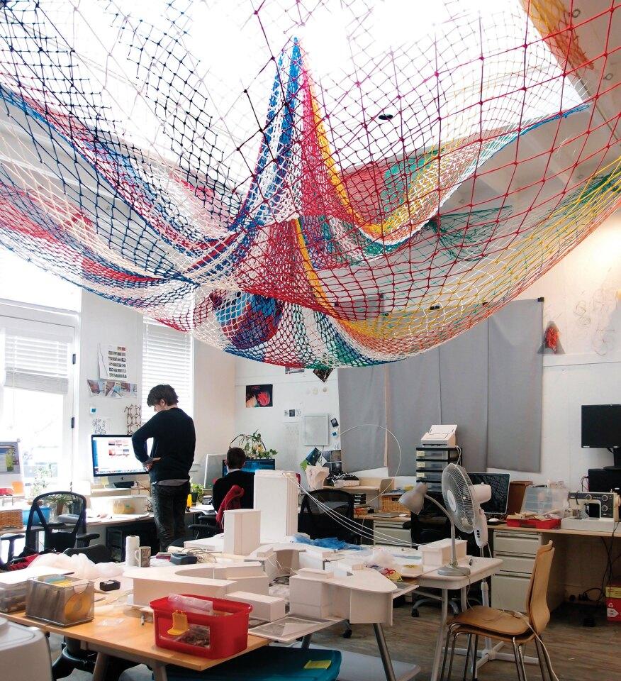Echelman's studio in Brookline, Mass.