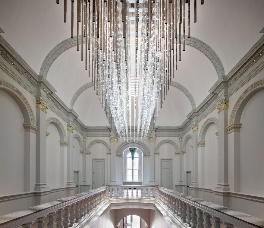 "Leo Villareal's LED light sculpture in the stair foyer of the Renwick Gallery. It is one of the installations that was part of the museum's reopening exhibit, ""Wonder."""