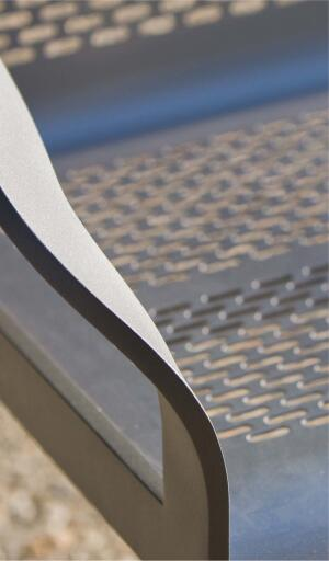 Ratio Bench    Forms + Surfacesforms-surfaces.com  Castaluminum frame with corrosion-resistant stainless steel seat - Backed or backless options in 6-foot nominal lengths - Pill-shaped perforations are applied in an off set pattern - Can be freestanding or mounted to floor surface Low- or no- VOC finishes - Completely recyclable